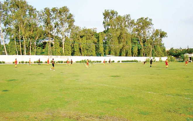 Water logging in ground ahead of National level football tournament, corporation helpless