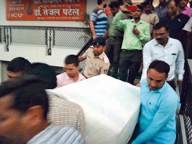 sonography machin sealed in krishna hospital in deesa