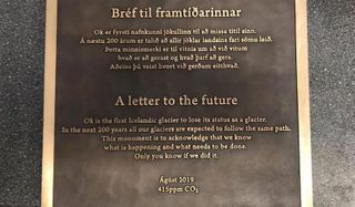 આઇસલેન્ડમાં 400માંથી 1 ગ્લેશિયર ઓગળતા સરકારે કટાક્ષ સાથેની તખ્તી લગાવી