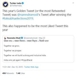 """વડાપ્રધાન મોદીનું આ ટ્વીટ બન્યું વર્ષનું """"ગોલ્ડન ટ્વીટ"""", જાણો કેટલા મળ્યા લાઇક્સ"""