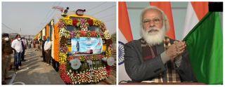 PM નરેન્દ્ર મોદીએ સ્ટેચ્યુ ઓફ યુનિટી સુધી 8 ટ્રેનને લીલીઝંડી આપી, કેવડિયા રેલવે સ્ટેશનનું લોકાર્પણ કર્યું