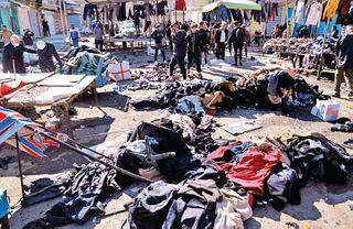 બગદાદમાં ભરબજારમાં બે આત્મઘાતી વિસ્ફોટોમાં 32નાં મોત
